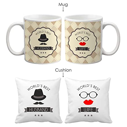 Buy Tyyc Valentine Gifts, Worlds Best Husband Wife Mugs Set Of ...