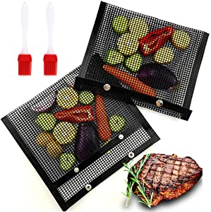 BBQ Grill Mesh Bags Non-Stick BBQ Grill Mesh Baked Bag Baking Grilling PTFE Bag Mesh Barbecue Pouch Food Grade Heat-Resistant for Indoor Outdoor Picnic Cooking Barbecue 2 Pcs with 2xSilicone Brushes