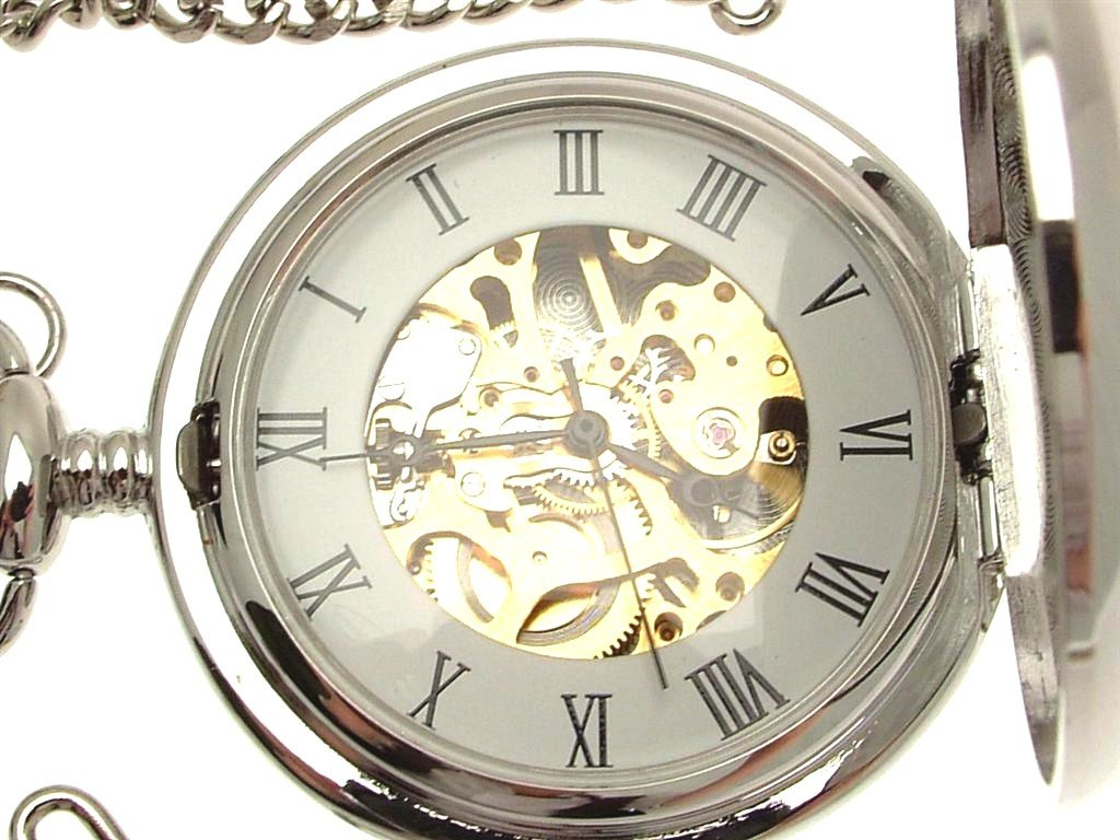 Solid pewter fronted mechanical skeleton pocket watch - Two tone celtic knot design 8
