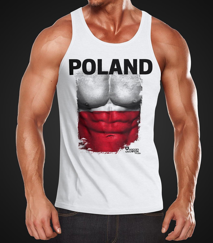 MoonWorks EM Tanktop Herren Fu/ßball Polen Poland Flagge Fanshirt Waschbrettbauch Muskelshirt
