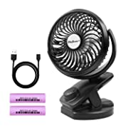 SkyGenius Battery Operated Clip on Portable Fan for Bay Stroller, USB Rechargeable 4400mA Battery Powered Mini Desk Fan