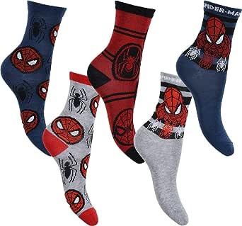 Juego de 5 pares de calcetines de algodón de Spiderman Marvel Original para niño, tamaño estándar, paquete de 5, 70 % algodón, 6 niños, 2 tallas de Reino Unido