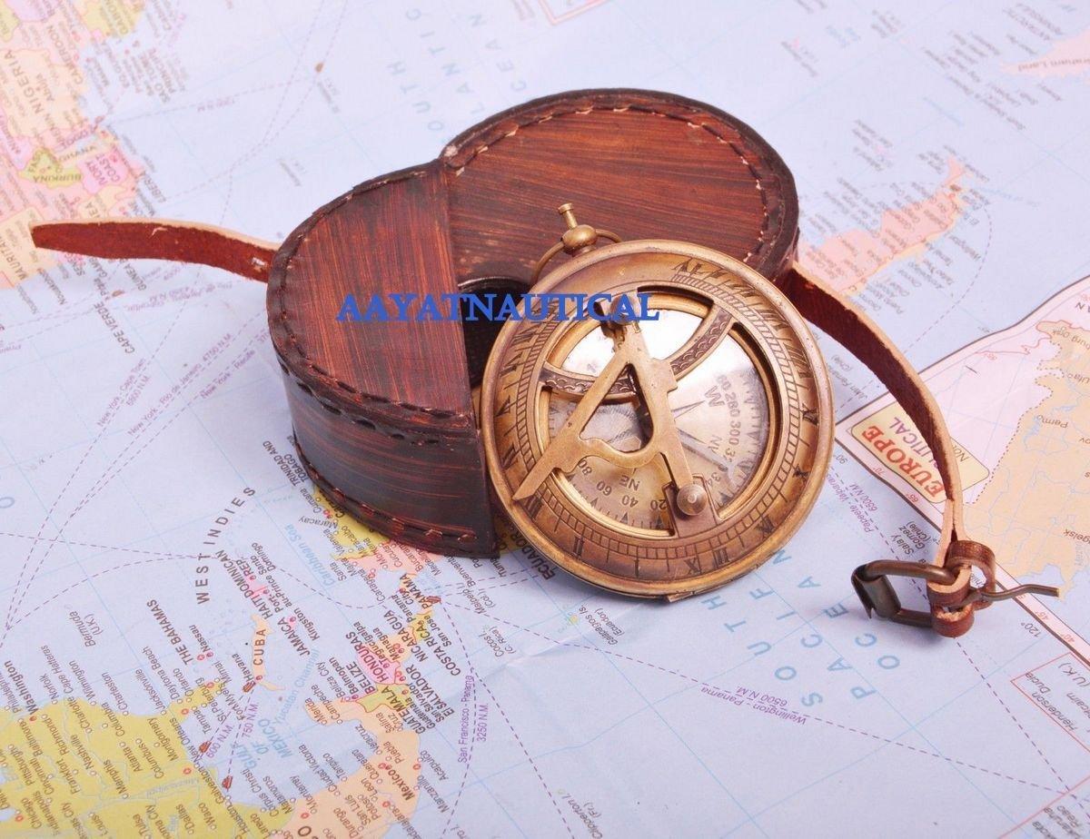 真鍮ポケットコンパス方向Sundial ~プッシュボタン~アンティークCollectibleギフト B073STPQGB