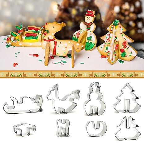 izoel moldes para galletas (8 unidades, en caja de regalo de Navidad 3d de