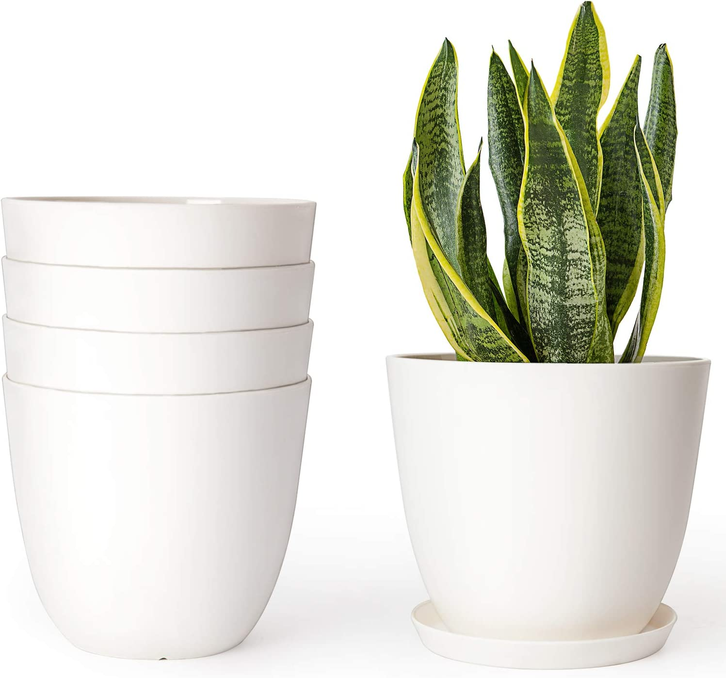 Amazon Com Mkono Plastic Planters With Saucers Indoor Set Of 5 Flower Plant Pots Modern Decorative Gardening Pot With Drainage For All House Plants Herbs Foliage Plant And Seeding Nursery Cream White 6 5