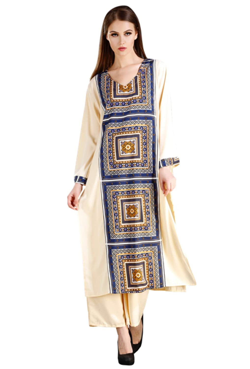 MEVE Readymade Long Block Print Kurta and Palazzo Set for Women