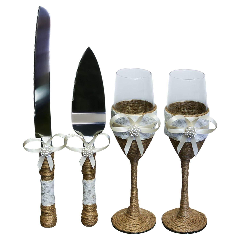 Amazon.com | Rustic Wedding Gift Set Burlap Twine Bridal Shower Gift ...