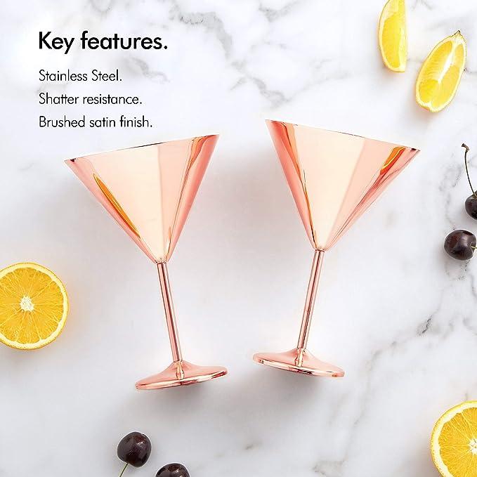 Juego de 2 Copas de vino con acabado de cobre /Vaso de ginebra inastillable de 530 ml /Vasos Globo Oro Rosa /Copas de c/óctel de acero inoxidable
