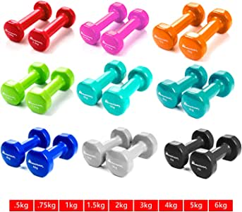 Meteor Anti-Slip Dumbbell Pair Weight Home Gym Fitness Exercise Workout Training Dumbbells 1/2/3/4/5/6 KG