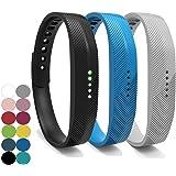 YEFOD 3pcs/Set Fitbit Flex 2 Straps, Silicone Replacement Bands Accessories Wristband Bracelet with Metal Clasp Wrist Band Strap for Fitbit Flex 2 Fitness Activity Tracker