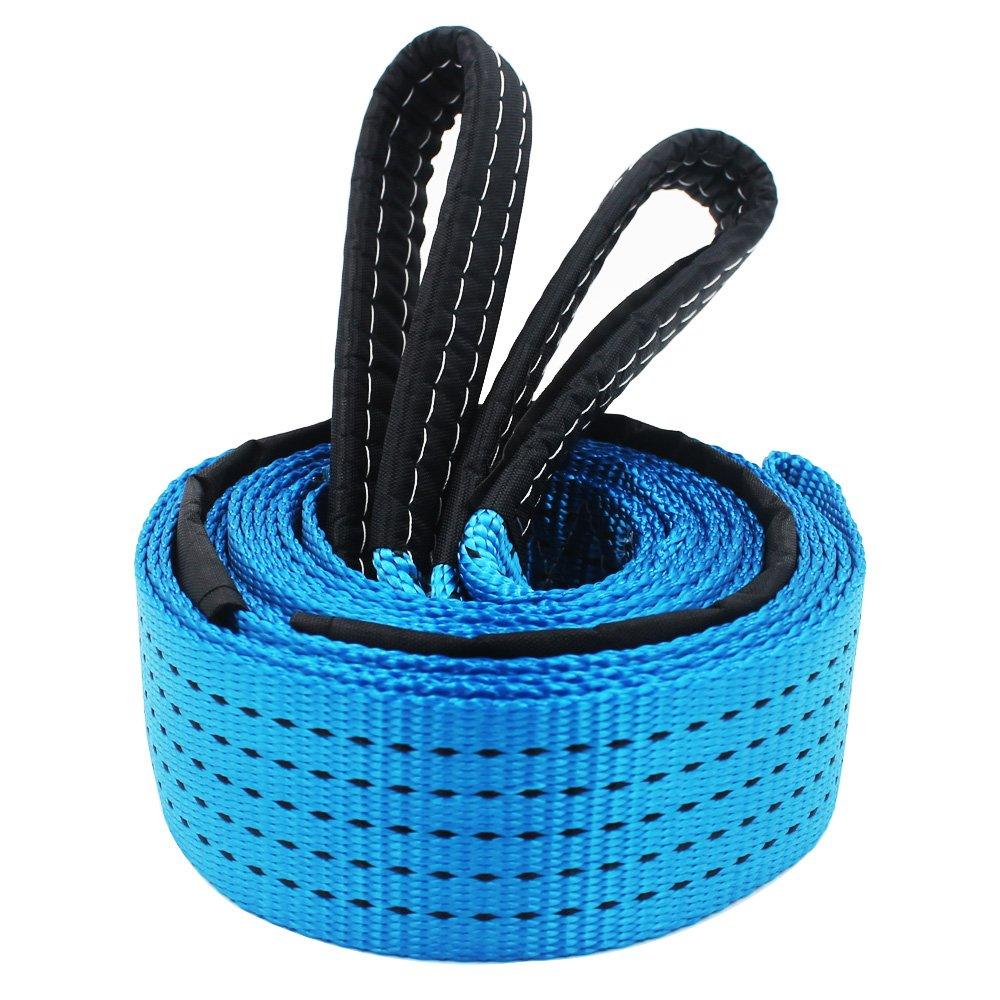 EEFUN 5m x 5cm 8 Tonne Corde de Remorquage, Nylon Sangle de Remorquage de Traction, Résistance 8,000kg (17k lb), Heavy Duty Recovery Strap, avec 2 Boucles Renforcées,SANS Crochets