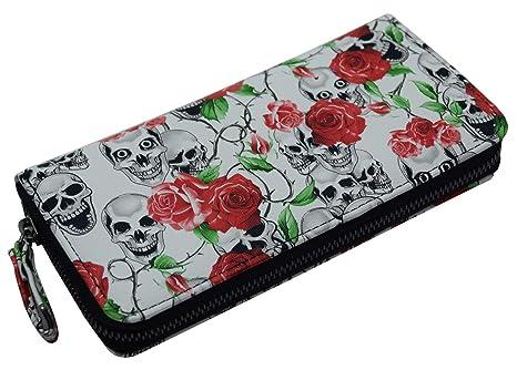 Portemonnaie Damen Strass Reißverschluss Geldbörse mit USA Design Totenkopf