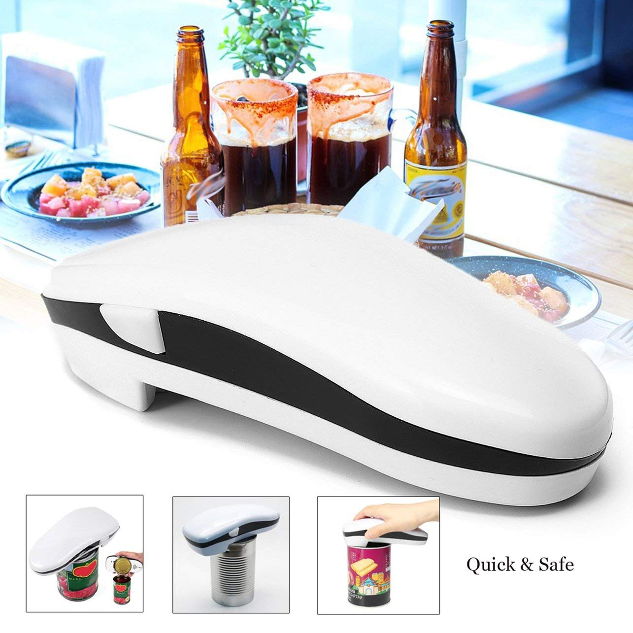 Automatic Bottle Opener Smooth Edge Battery Operated One Touch Can Opener Tin Bottle Opener for Restaurant Kitchen(Color:White) WOSOSYEYO