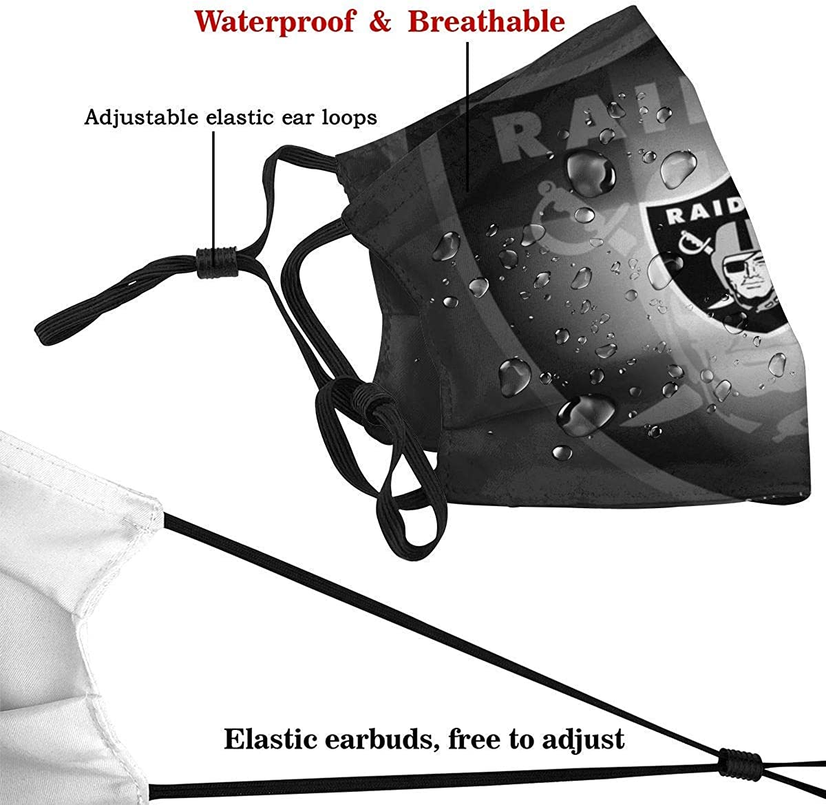 Multi Usage Mundabdeckung Oakland Raiders Atmungsaktiver wiederverwendbarer Anti-Staub-Gesichtsschutz Gesichtsschal