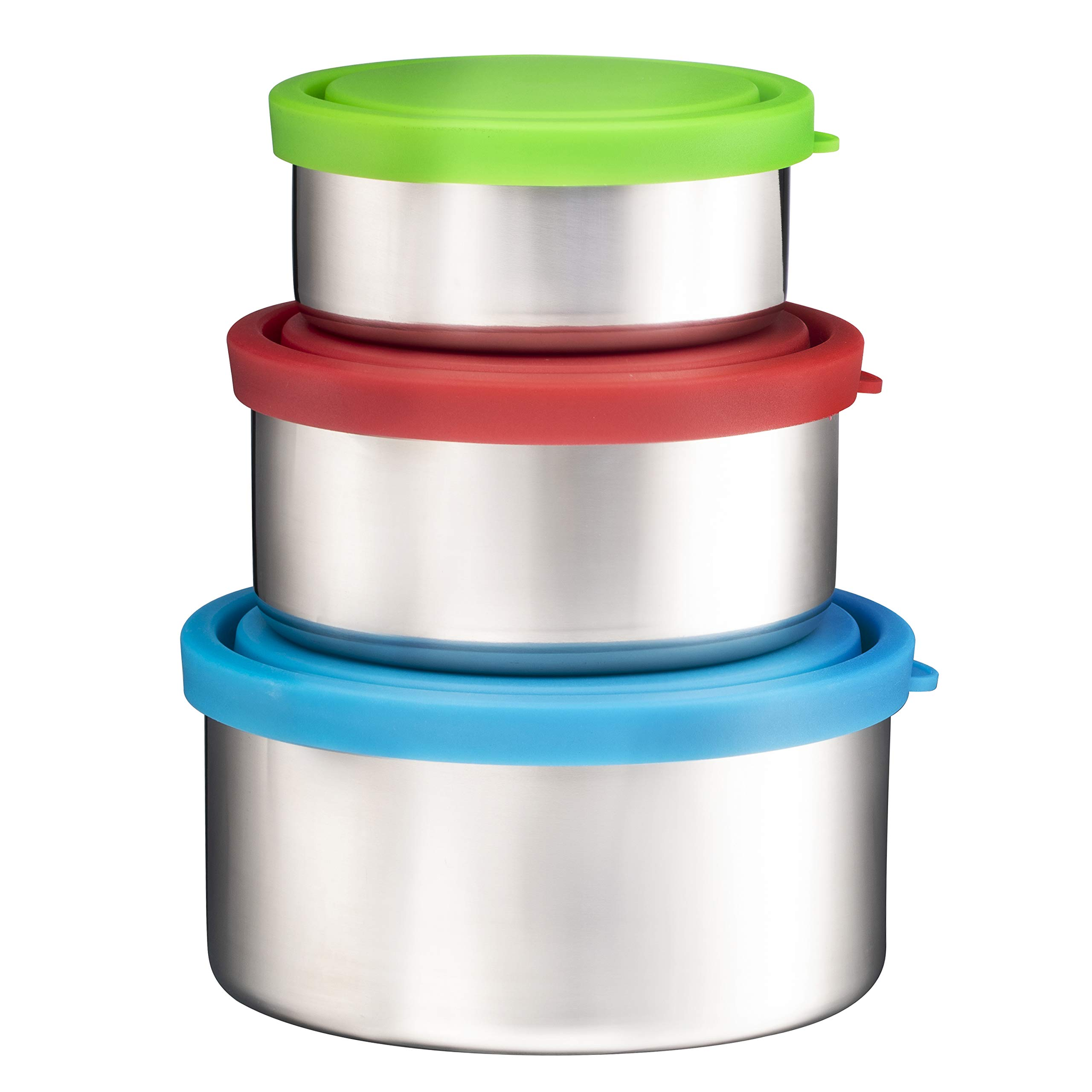 Bruntmor Trio Nesting 18/8 Stainless Steel Food Containers with Leak-Proof Lids, Set of 3 by Bruntmor