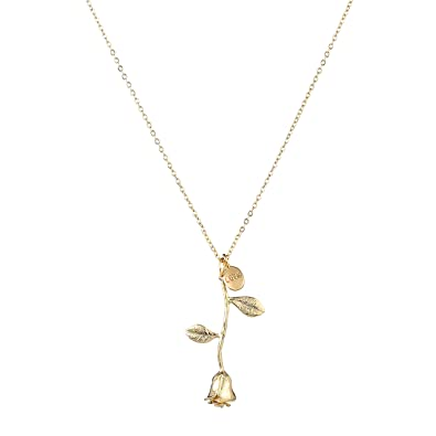 with rose stem necklace pendant jewelry com dp and amazon yellow gold