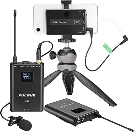 FULAIM MX20 Micrófono Lavalier Inalámbrico Omnidireccional UHF de ...