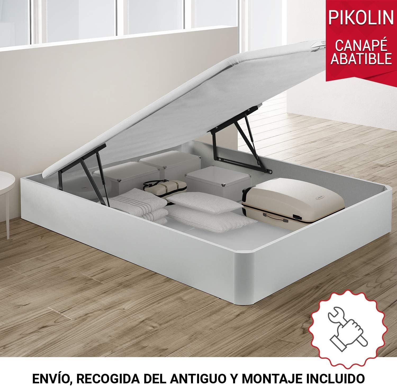 PIKOLIN, canapé abatible de almacenaje Color Blanco 135x200, Servicio de Entrega Premium Incluido