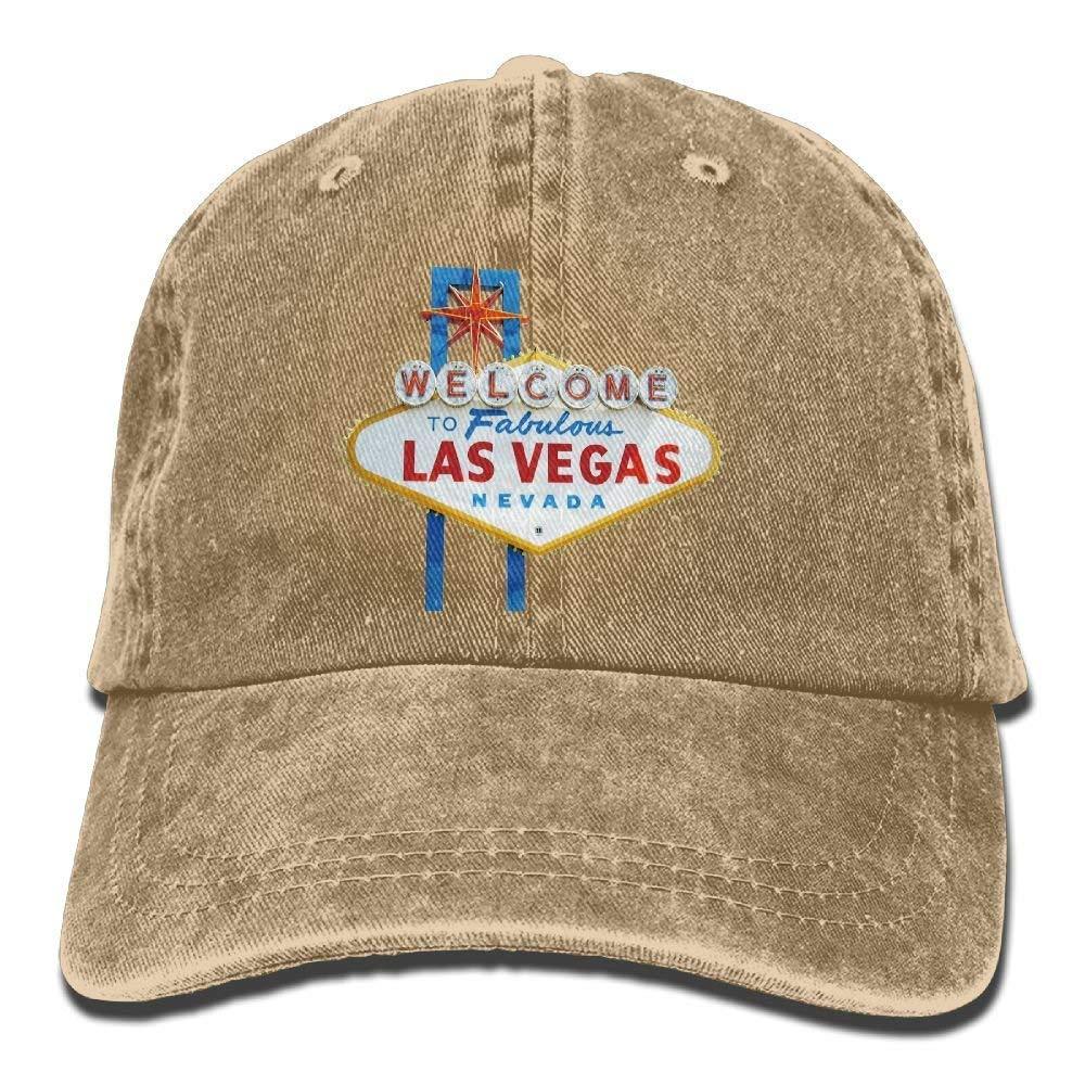 JTRVW Welcome to LAS Vegas Trend Printing Cowboy Hat Fashion Baseball Cap for Men and Women Black