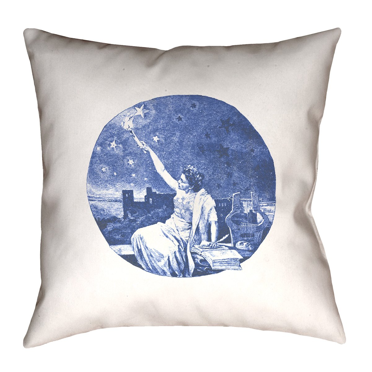 ArtVerse Katelyn Smith Blue Vintage Goddess 20 x 20 Pillow-Faux Linen Updated Fabric Double Sided Print with Concealed Zipper /& Insert