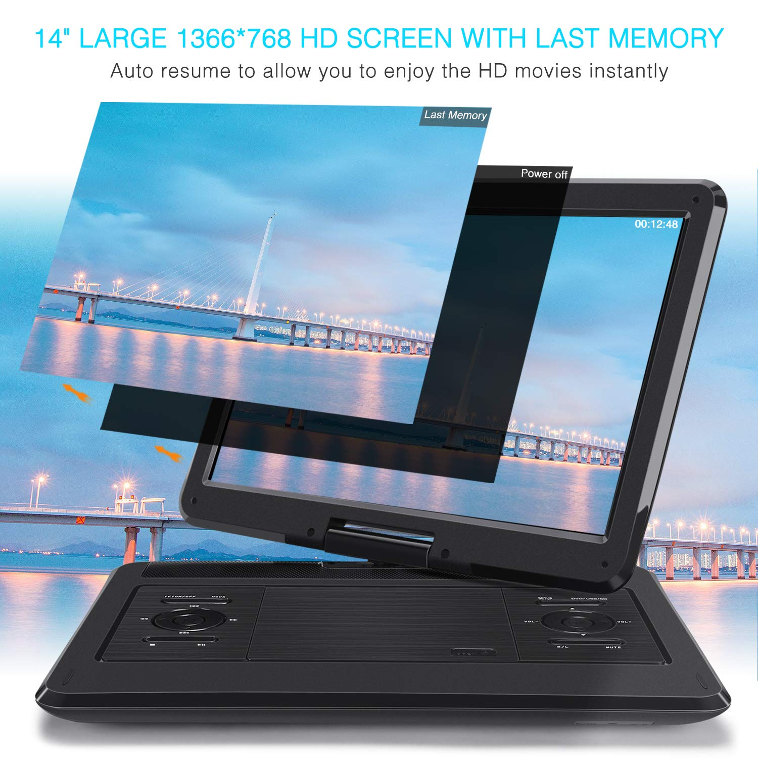 NAVISKAUTO 14'' Portable DVD Player with 6-7 Hours Rechargeable Battery, 270 Degrees Swivel Screen 1366X768, 9.84ft Car Charger/Wall Charger, Support USB/SD Card Playback, Region Free by NAVISKAUTO (Image #3)