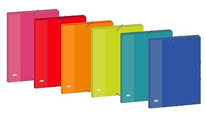 Elba Color Life - Caja de 12 carpetas de gomas cartón forrado