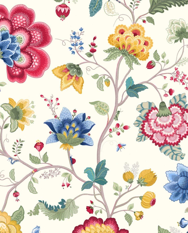 64 cm Pip studio papier peint motif fleurs fantaisie eijffinger-blanc-longueur 10 m motif largeur 52 cm