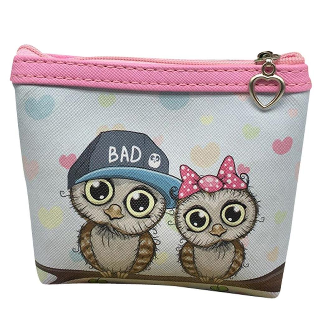 Women Teen Girls Cute Owl Coin Purse Wallet Card Holder Change Pouch Clutch Handbag Zipper (11.5310cm, G)