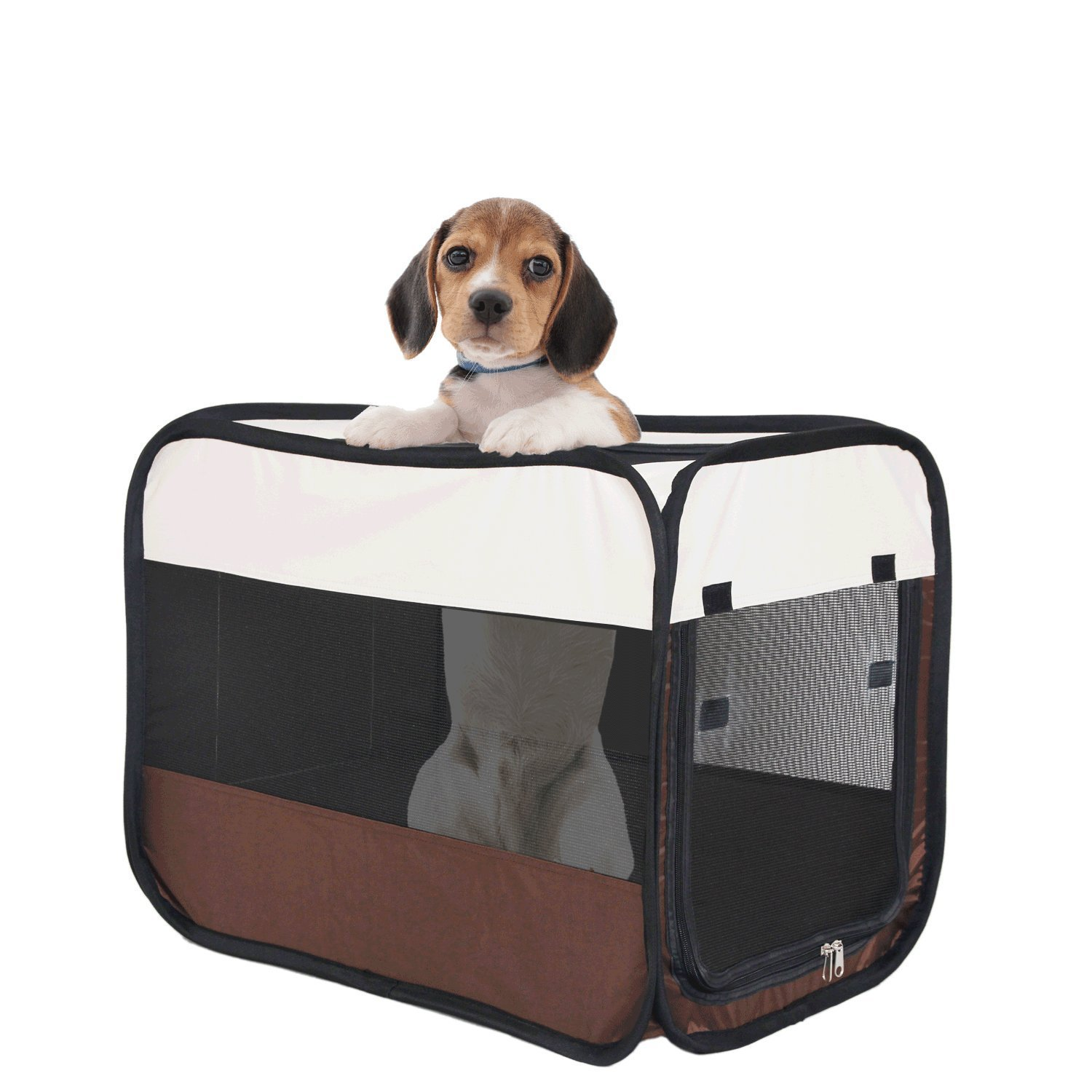 Soft Pet Crate - Foldable and Portable Playpen Tent/Gray Cage/Kennel with 4 Panels Indoor & Outdoor Travel Use for Dogs, Cats, Rabbits or Other Small Animals