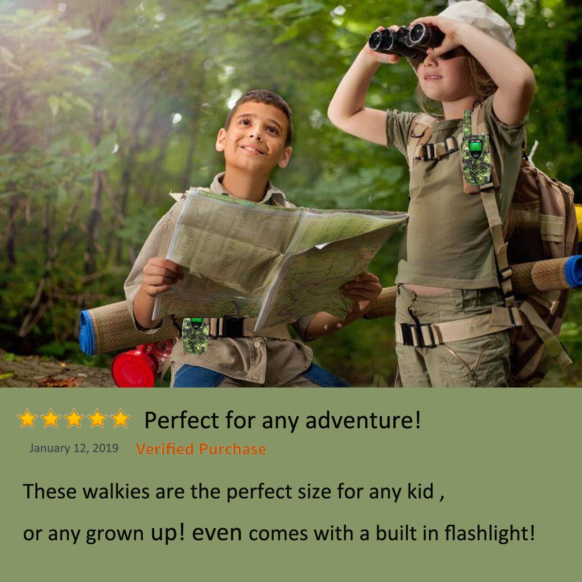WES TAYIN Rechargeable Walkie Talkies for Kids, 4 Miles Kids Walkie Talkies with VOX Hands Free and LED Flashlight, Power Saving Two Way Radios Toys, Holiday Birthday for Kids by WES TAYIN (Image #5)