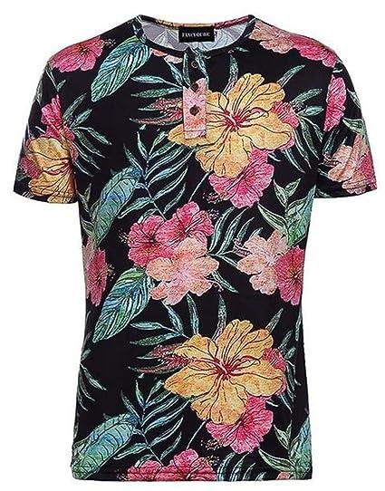 e55953f28 KLJR-Men Hipster T-Shirts Hawaiian Floral Print Hip Hop Tee Shirt    Amazon.com