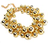 Fashion Gold Tone Chain Lots Resin Simulated Pearls Beads Cluster Choker Statement Necklace