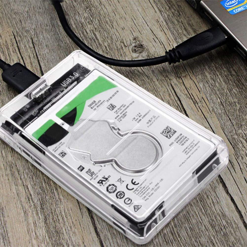Burysez Burysez USB 3.0 SATA External 2.5Hard Drive Enclosure HDD SSD Enclosure Transparent Box