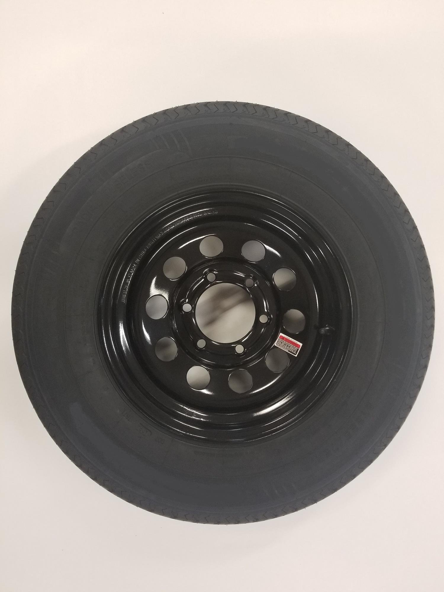 15'' Black Mod Trailer Wheel 6 Lug with Radial ST225/75R15 Tire Mounted (6x5.5) bolt circle