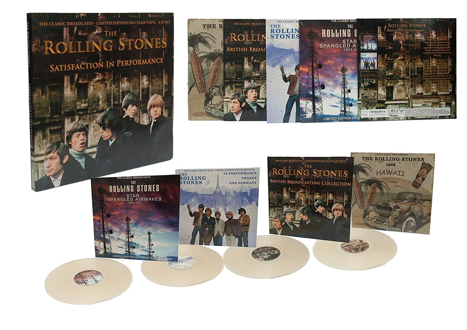 The Rolling Stones - Satisfaction In Concert: The Classic Broadcasts  1964-1966 4 Disc Clear Vinyl Box Set
