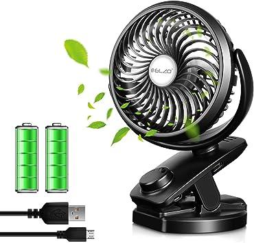 ELZO Mini Ventilador Clip Ventilador 4800mAh Batería Ventilador De ...