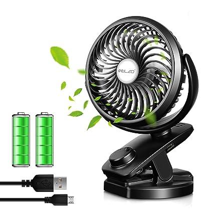ELZO USB Fan, Clip on Fan & Rechargeable 4800mAh Power Bank 2 in 1, Mini  Silent Fan Cooling Fan Office Fan with 360 Rotation for Baby Stroller, Car,
