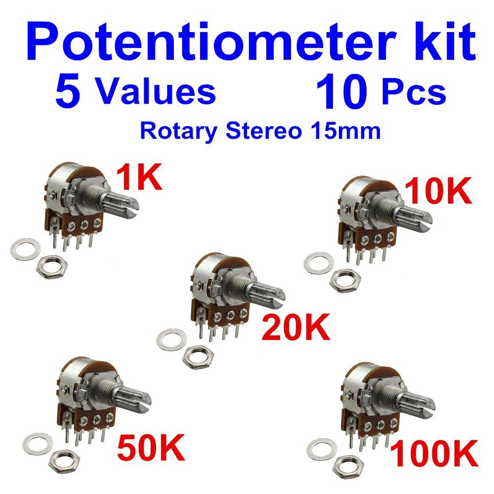 10Pcs Duplex Rotary Potentiometer (Stereo) 6Pins Kit 5 Values 1K ~100K 15mm Side Adjustment Linear Variable Resistor Pack Assorted Kit (2 per Value, Total 5Values)