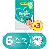 Pampers Active Baby Dry Diapers, Size 6, Extra Large, 13+ kg, Triple Giant Pack, 144 Count