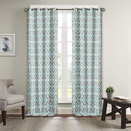 Aqua Curtains for Living Room, Modern Contemporary Window Curtain for  Living Room, Ashlin Geometric Fabric Grommet Window Curtains, 50X108,  1-Panel ...