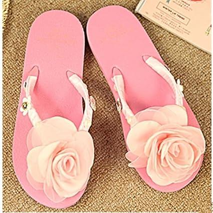 8145bb8c3b47 Amazon.com  KAKA(TM Women s Fashion Pink Rose Flower Rhinestone Glitter  Studded Crystal Thong Sandals Flip Flops Flat Shoes Sandals(39-40)  Home    Kitchen