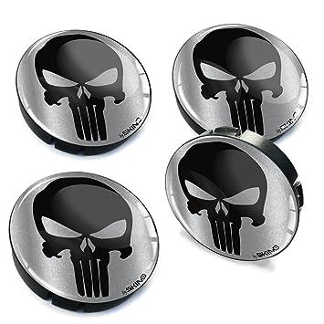 4 x 60mm Silikon Nabenkappen Kappen Punisher Silber Totenkopf Totensch/ädel Skull Felgendeckel Radkappen Radnabendeckel Nabendeckel Auto Tuning C 2