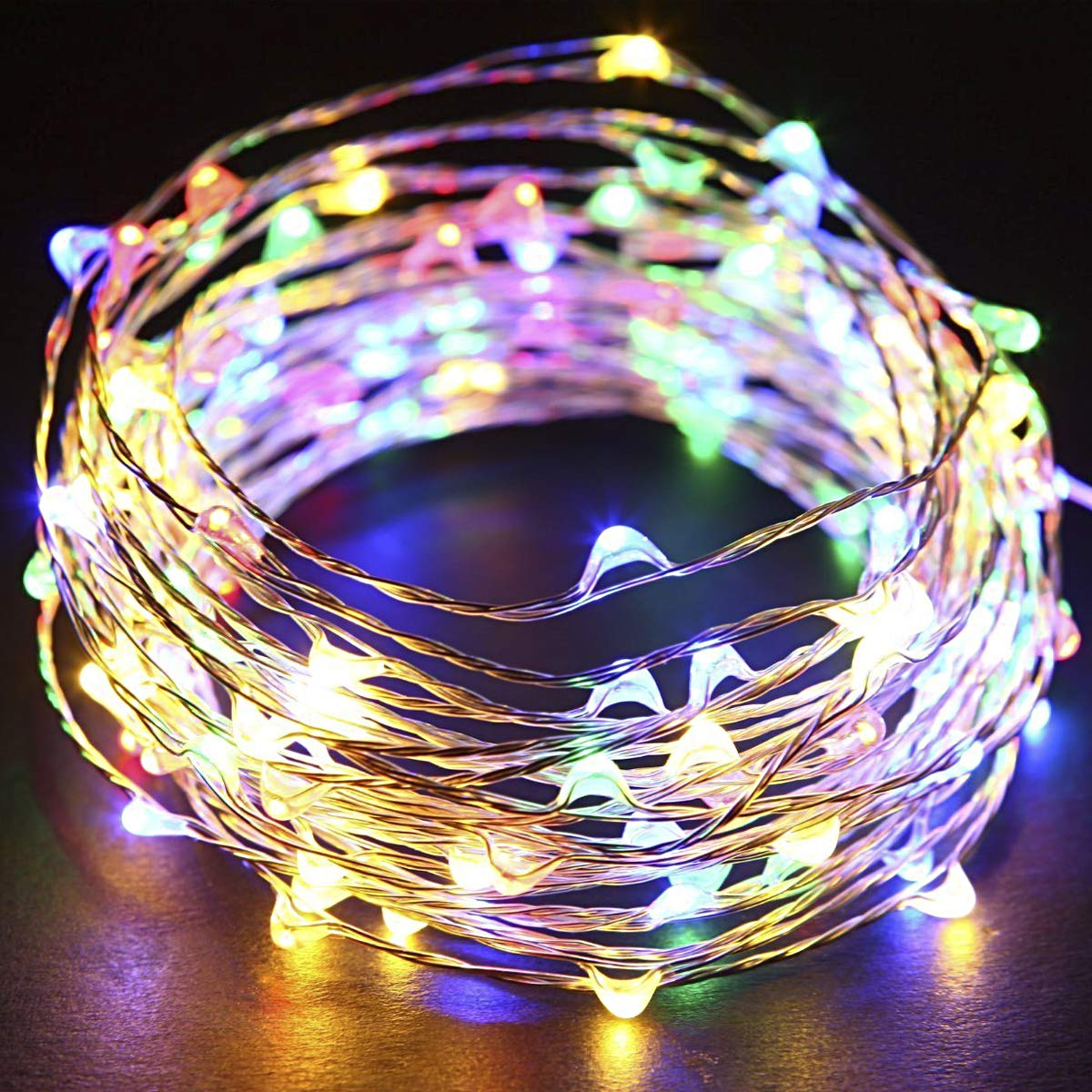 2 Pack 100 LED Solar Fairy Lights Waterproof Outdoor String Lights 33ft Copper Wire Lights for Patio Lawn Garden Gate Yard Party Wedding Christmas Decoration,Cool White Solarmks Solar String Lights