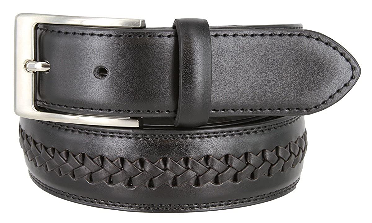 Hagora Men 1-3//8 Wide Genuine Leather Braid Inlay Square Metal Buckle Belt