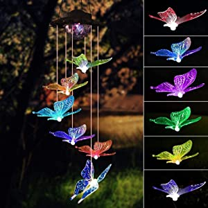 YJFWAL Solar Wind Chimes, Upgraded Butterfly Color Changing Wind Chime Outdoor Romantic Décor for Home Yard Patio Yard Garden Gifts for Mom Wife Grandma.