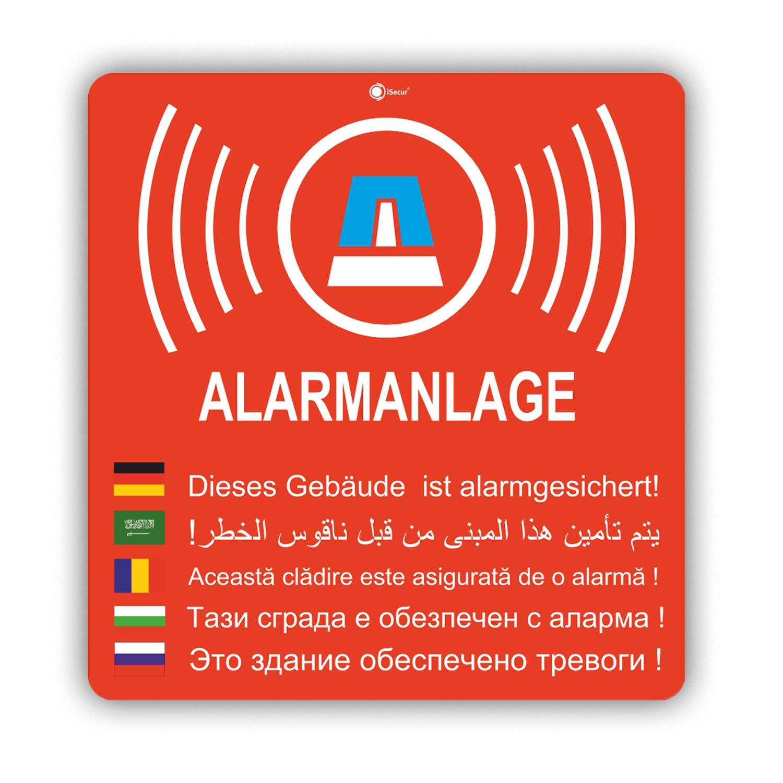 T/ür I au/ßenklebend Wetterfest Objekt ist Alarm-gesichert I f/ür Fenster-Scheibe 2er Aufkleber-Set Alarmanlage I Hin/_155 8x8,4 cm I Achtung Geb/äude
