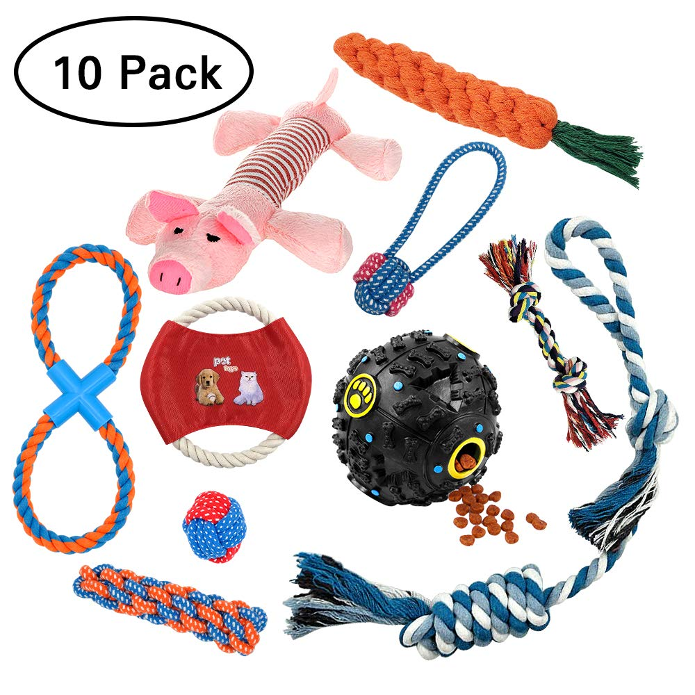 Dog Chew Toys for Puppies, AIRGOOD Durable Rope Toys, Pet Squeaky Food Spill Ball and Training Frisbee Toy Set (10 Pack )
