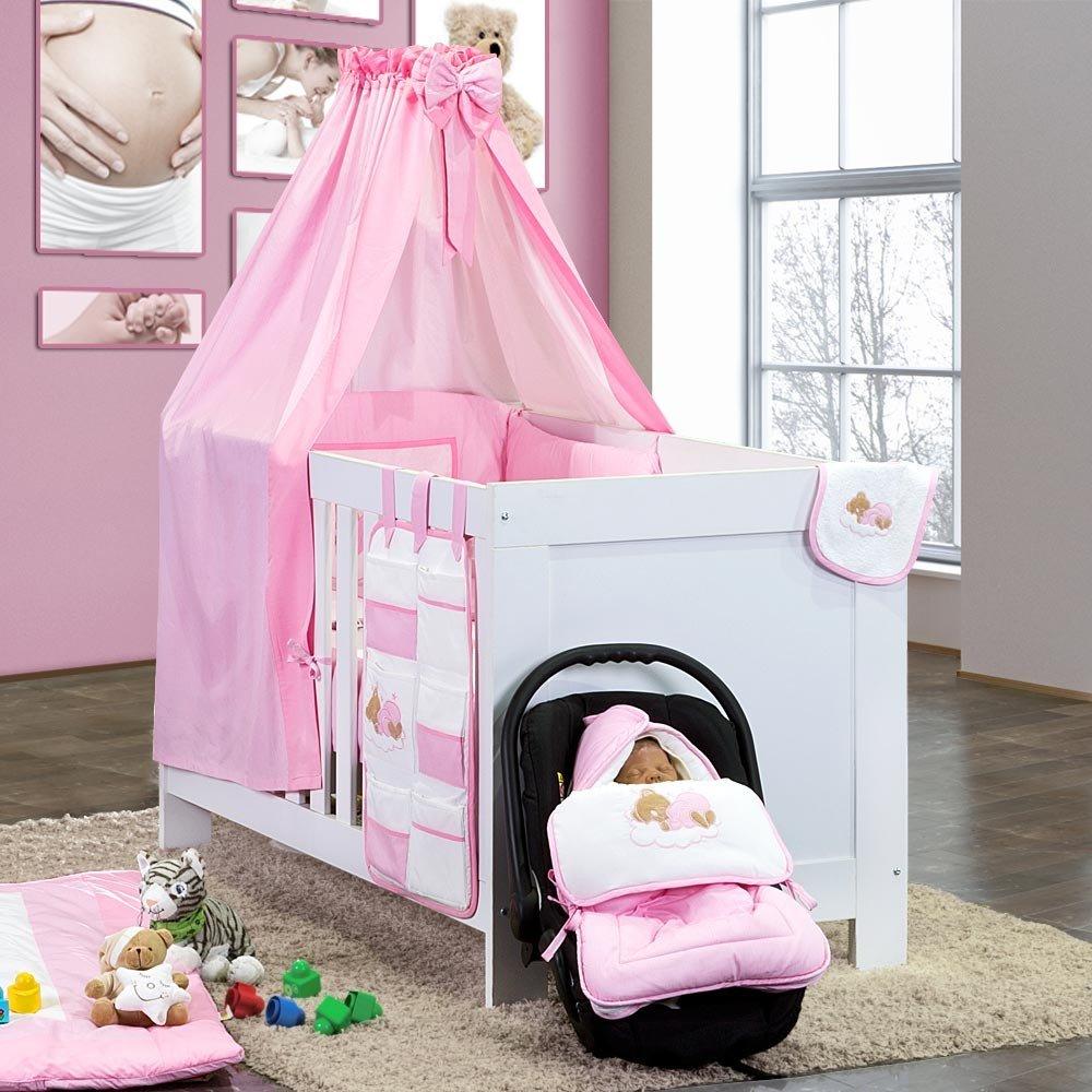 7-tlg. Bettsetpaket Sleeping Bear in rosa inkl. Krabbeldecke und Lätzchen