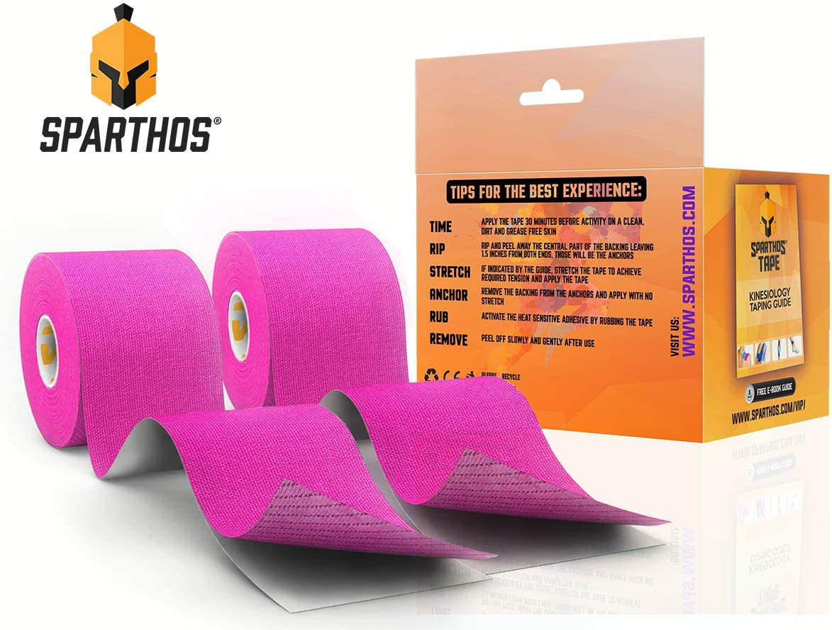 Sparthos Kinesiology Tape Uncut 2 inch x 16.4 feet Roll Free Kinesiology Taping Guide! Incredible Support for Athletic Sports and Recovery