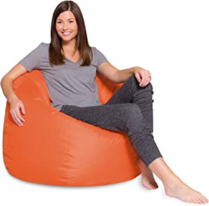 Posh Beanbags Big Comfy Bean Bag Posh Large Beanbag Chairs with Removable Cover for Kids, Teens and Adults Polyester Cloth Puff Sack Lounger Furniture for All Ages, 35in, Solid Orange